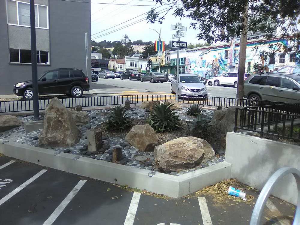 Decorative rocks put in place outside the public library in the Castro district of San Francisco. [Credit: TJ Johnston]