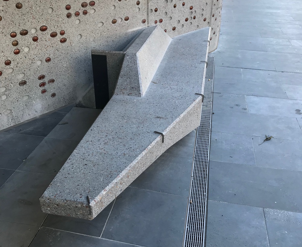 Examples of hostile architecture in various cities from the Instagram page @defensivecity [Photos taken by Jordan Halsall]