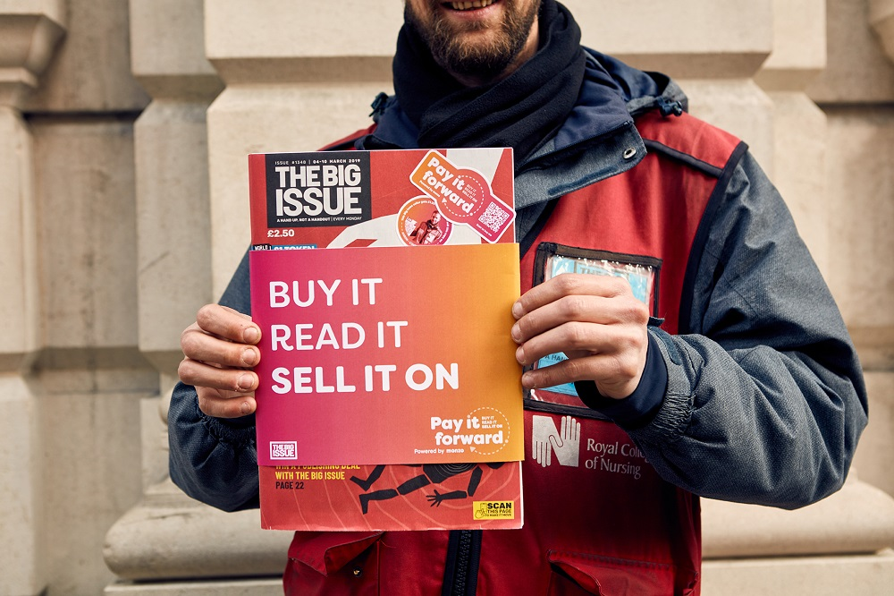 • The Big Issue has partnered with digital bank Monzo to help Big Issue magazine vendors earn more by making every reader a potential seller. (Credit: The Big Issue)